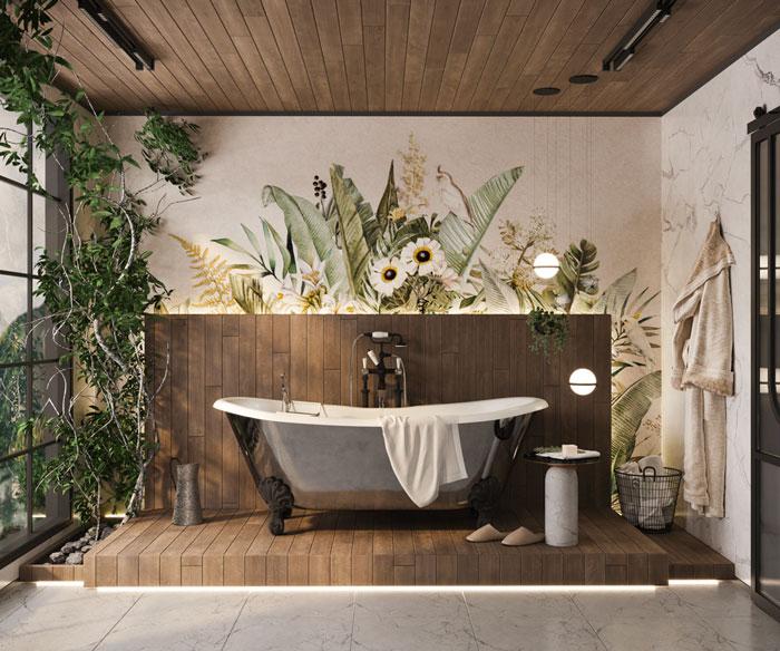 Une salle de bain de style rustique chic avec une baignoire îlot