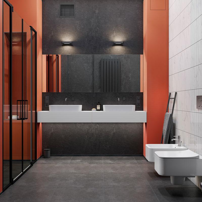 Une salle de bain de couleur terracotta et noire